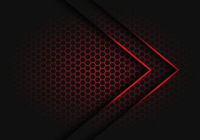 Bild Abstract red arrow light shadow direction on hexagon mesh pattern design modern futuristic background vector illustration.