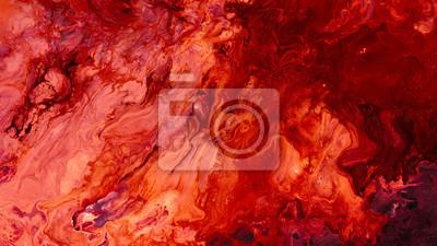 Bild Abstract red paint background. Color gradient texture. Liquid mix fluid blend surface. Acrylic marble effect layer technique.