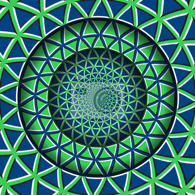 Abstract round frame with a moving blue green triangles pattern. Optical illusion hypnotic background.