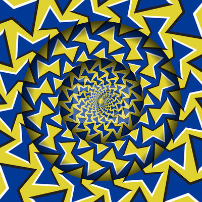 Abstract round frame with a moving blue yellow bow shapes pattern. Optical illusion hypnotic background.