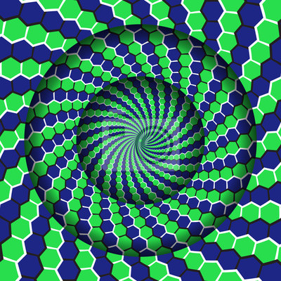 Abstract round frame with a moving green blue hexagons spiral pattern. Optical illusion hypnotic background.