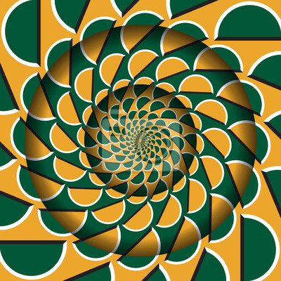 Abstract round frame with a moving green orange semicircles pattern. Optical illusion hypnotic background.