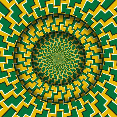 Abstract round frame with a moving green yellow zigzag shapes pattern. Optical illusion hypnotic background.