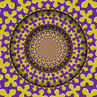 Abstract round frame with a moving purple yellow cruciform shapes pattern. Optical illusion hypnotic background.