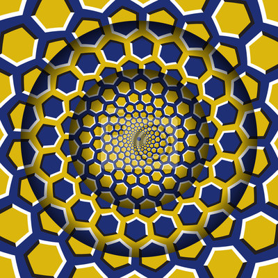 Abstract round frame with a moving yellow blue hexagons pattern. Optical illusion hypnotic background.