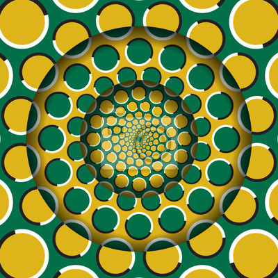 Abstract round frame with a moving yellow green circles pattern. Optical illusion hypnotic background.