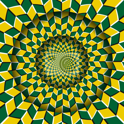 Abstract round frame with a moving yellow green rhombuses pattern. Optical illusion hypnotic background.