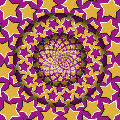 Abstract round frame with a moving yellow pink starry pattern. Optical illusion hypnotic background.
