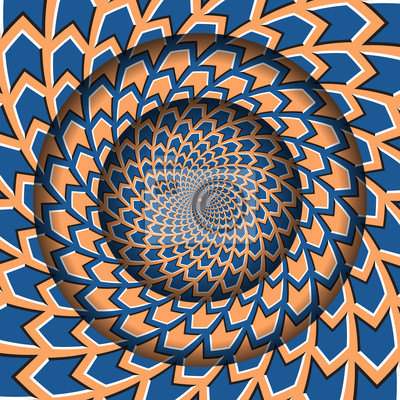Abstract round frame with a rotating blue orange arrows pattern. Optical illusion hypnotic background.