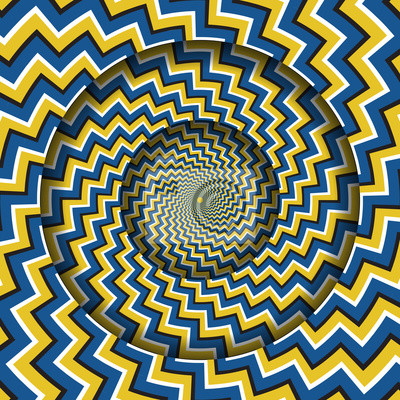 Abstract round frame with a rotating blue yellow zigzag stripes pattern. Optical illusion hypnotic background.