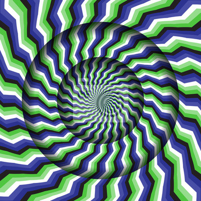 Abstract round frame with a rotating green blue stripes pattern. Optical illusion hypnotic background.