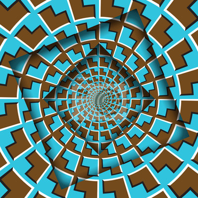 Abstract shifted frames with a moving blue brown arrows pattern. Optical illusion background.