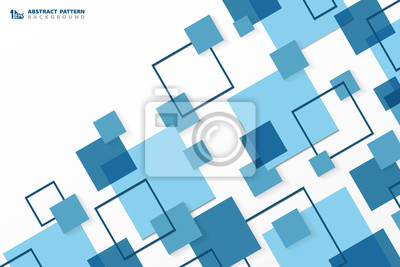 Bild Abstract technology modern blue square geometric pattern background. You can use for ad, poster, corporate presentation, annual report, cover design.