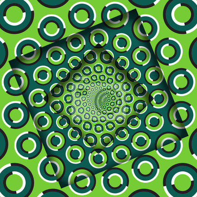 Abstract turned frames with a rotating green rings pattern. Optical illusion background.