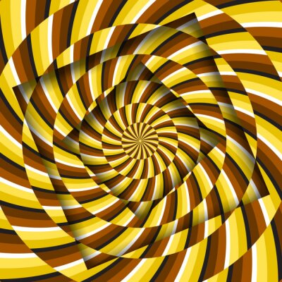 Abstract turned frames with a rotating yellow brown spiral striped pattern. Optical illusion hypnotic background.