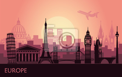 Abstract urban landscape with the sights of Europe