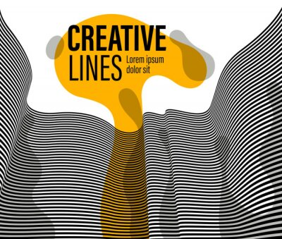 Abstract vector 3D lines with yellow fluid splat background, black and white curves linear perspective dimensional optical pattern.