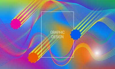 Abstract vibrant background design with falling translucent shapes and colorful guilloche elements. Dynamic poster template.