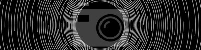 Bild Abstract White Concentric Round Lines on Black Background - Wide Vector Illustration