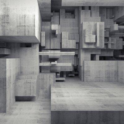 Bild Abstrakt 3d konkrete Innenraum mit chaotischen Würfeln