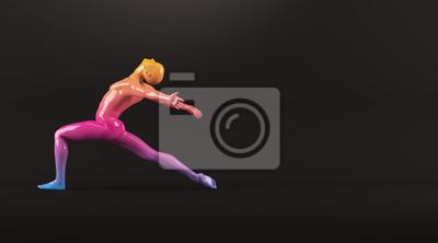 Abstrakt colorful Kunststoff menschlichen Körper Mannequin Abbildung auf schwarzem Hintergrund. Action-Tanz-Ballett-Pose. 3D-Rendering-Abbildung