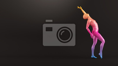 Abstrakt colorful Kunststoff menschlichen Körper Mannequin Abbildung auf schwarzem Hintergrund. Action-Tanz-Pose. 3D-Rendering-Abbildung
