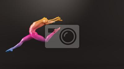 Abstrakt colorful Kunststoff menschlichen Körper Mannequin Abbildung auf schwarzem Hintergrund. Action-Tanz springen Ballett-Pose. 3D-Rendering-Abbildung