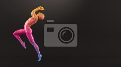 Abstrakt colorful Kunststoff menschlichen Körper Mannequin Abbildung auf schwarzem Hintergrund. Action und Springen posieren. 3D-Rendering-Abbildung