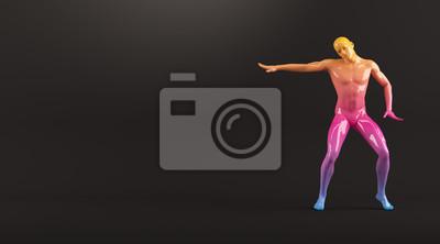 Abstrakt colorful Kunststoff menschlichen Körper Mannequin Abbildung auf schwarzem Hintergrund. Aktion Breakdance elektrische Pose. 3D-Rendering-Abbildung