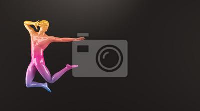Abstrakt colorful Kunststoff menschlichen Körper Mannequin Abbildung auf schwarzem Hintergrund. Aktion Springen Ballett-Pose. 3D-Rendering-Abbildung