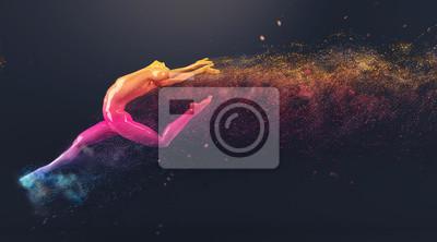 Abstrakt colorful Kunststoff menschlichen Körper Mannequin mit Streuung Partikel auf schwarzem Hintergrund. Action-Tanz-Ballett-Pose. 3D-Rendering-Abbildung
