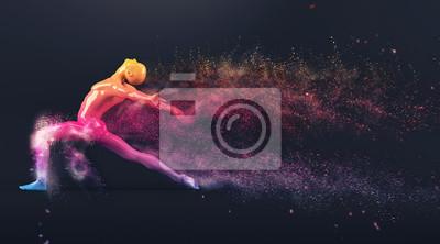Abstrakt colorful Kunststoff menschlichen Körper Schaufensterpuppe Figur mit streuenden Teilchen auf schwarzem Hintergrund. Action-Tanz-Ballett-Pose. 3D-Rendering-Abbildung