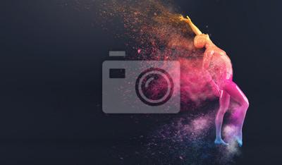 Abstrakt colorful Kunststoff menschlichen Körper Schaufensterpuppe Figur mit streuenden Teilchen auf schwarzem Hintergrund. Action-Tanz-Pose. 3D-Rendering-Abbildung