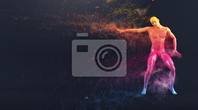 Abstrakt colorful Kunststoff menschlichen Körper Schaufensterpuppe Figur mit streuenden Teilchen auf schwarzem Hintergrund. Aktion Breakdance elektrische Pose. 3D-Rendering-Abbildung