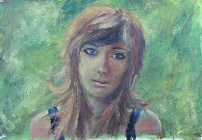 Bild Abstrakt Mädchen Porträt auf grün Ölgemälde auf Leinwand