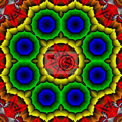Abstrakt Mandala Oktagonal Bunt Regenbogenfarben Leinwandbilder