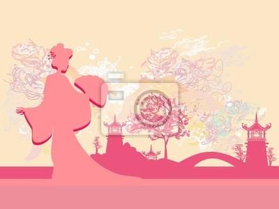 Bild Abstrakt Schöne Geisha und asiatischen Landschaft