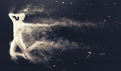 Abstrakt weißen Kunststoff menschlichen Körper Mannequin mit Streuung Partikel auf schwarzem Hintergrund. Aktion Springen Ballett-Pose. 3D-Rendering-Abbildung