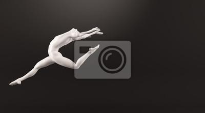 Abstrakt weißen Kunststoff menschlichen Körper Mannequin über schwarzem Hintergrund. 3D-Rendering-Abbildung