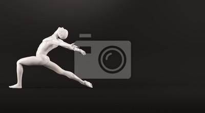Abstrakt weißen Kunststoff menschlichen Körper Mannequin über schwarzem Hintergrund. Action-Tanz-Ballett-Pose. 3D-Rendering-Abbildung