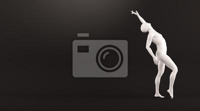 Abstrakt weißen Kunststoff menschlichen Körper Mannequin über schwarzem Hintergrund. Action-Tanz-Pose. 3D-Rendering-Abbildung