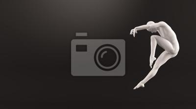 Abstrakt weißen Kunststoff menschlichen Körper Mannequin über schwarzem Hintergrund. Action-Tanz springen Ballett-Pose. 3D-Rendering-Abbildung