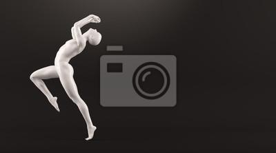 Abstrakt weißen Kunststoff menschlichen Körper Mannequin über schwarzem Hintergrund. Action und Springen posieren. 3D-Rendering-Abbildung