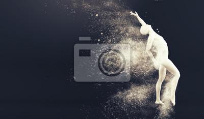 Abstrakt weißen Kunststoff menschlichen Körper Schaufensterpuppe Figur mit streuenden Partikeln auf schwarzem Hintergrund. Action-Tanz-Pose. 3D-Rendering-Abbildung
