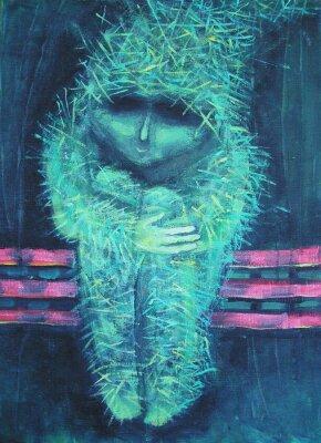 Bild Abstrakte Acryl-Malerei. Einsamkeit sonst grünen Männchen. Innendekoration.