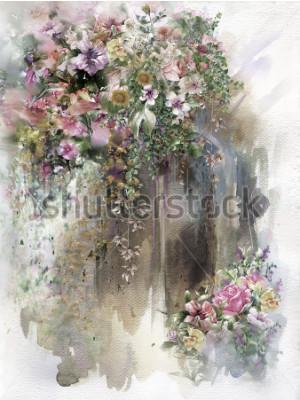 Bild Abstrakte Blumen auf Wandaquarellmalerei. Mehrfarbige Frühlingsblumen