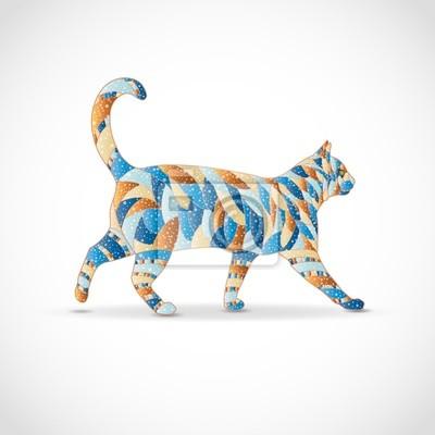 Abstrakte bunte Katze. Abbildung 10 Version.