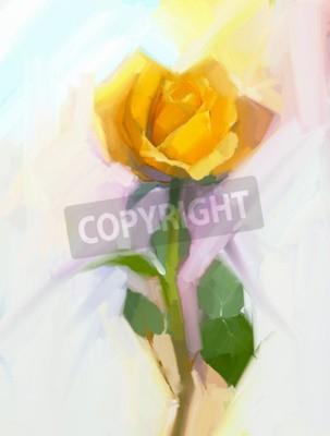 Bild Abstrakte gelbe Rose Blume mit grünem Blatt Ölgemälde. Handgemalte Blumen in weicher Farbe und verschwommenen Stil Hintergrund