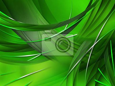 Abstrakte Komposition mit grünen Linien und Kurven