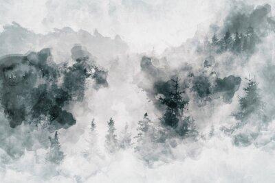 Bild Abstrakte Kunstarbeit, die einen dunklen Wald mit Suppengrün zeigt. Gemischte Medien